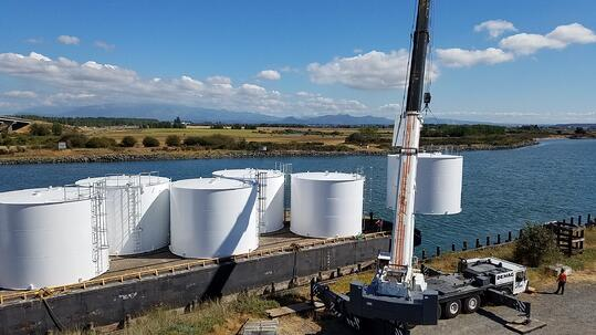 barge shipping industrial tanks